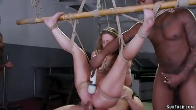 Therapist and four men plow trussed babe