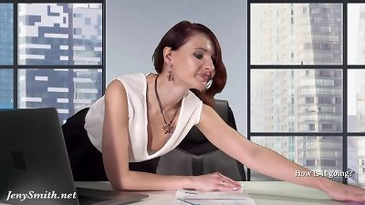 Downblouse at work — chief demonstrating her boobs and labia