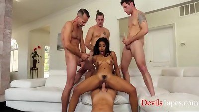 White Horny Men Corner A Black Girl & Gangbang Her