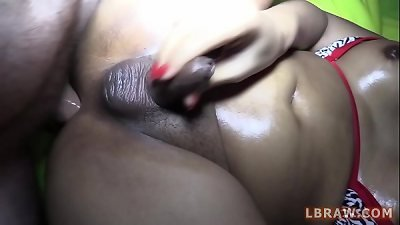 huge ladyboy Sky nailed without a condom