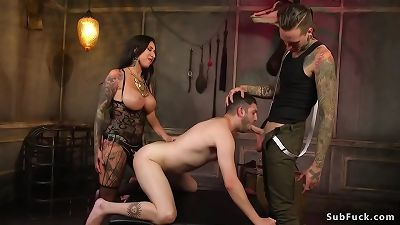 Alt couple fucking submissive guy