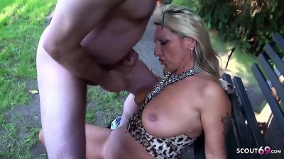 German yam-sized tits milf tricked Stranger to pound her Outdoor