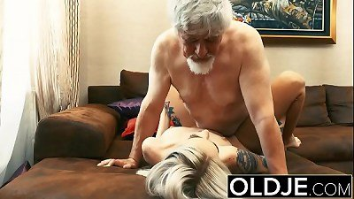 Old and Young Teen Blonde Fucked by Old man tight pussy cock licking