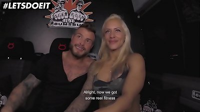 LETSDOEIT - (Fit xxx Sandy & Mr. White) Fit couple It's pounding On The Bus After Daily workout