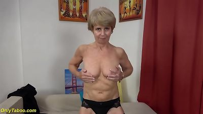 thin 75 years old granny very first time on flick