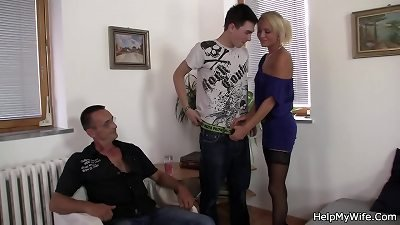 young blonde cuckolds husband