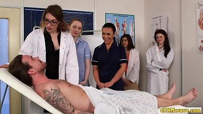 Nurses blowing cfnm cock in group domination