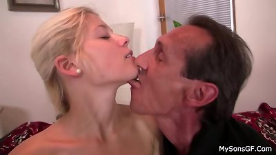 elder daddy in law tempts blond nymph into sex
