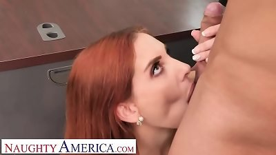 nasty America - Lilian Stone drains her boss' ballsack to help relax his tension