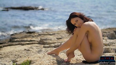 diminutive Russian model Sade Mare hot outdoor striptease