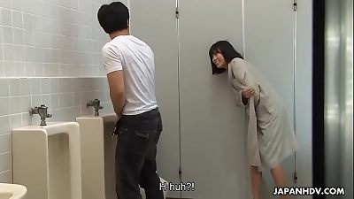 Brainwashed korean nympho hunts for sausages in the public toilet