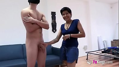 Cleaning lady is such a slut and wants to taste Fabio's enormous cock, buth her husband cannot know it